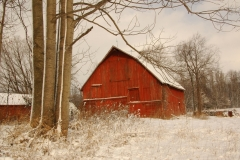 Barn Red Ridge Road Winter #3075